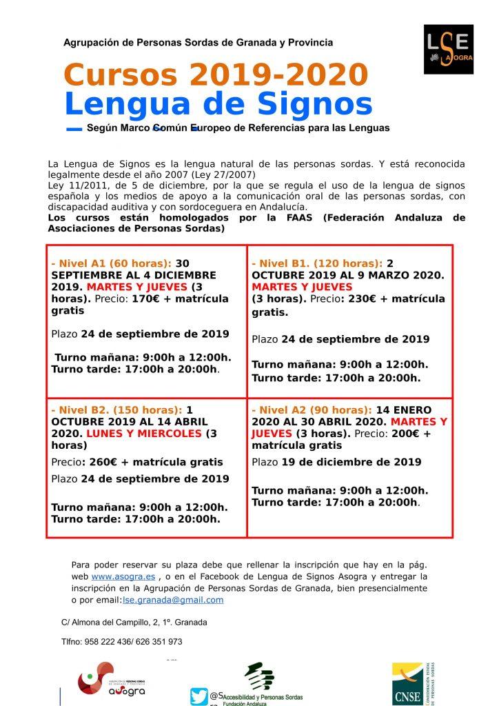 Calendario Ugr 2020.Cursos De Lengua De Signos Espanola Asogra